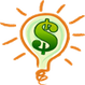 Icon of dollar sign and light bulb